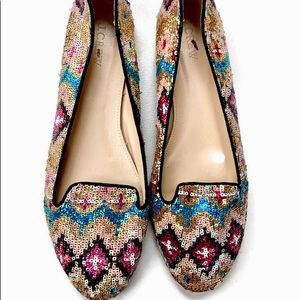 J Crew Sophie Sequin Loafers Flats NEW